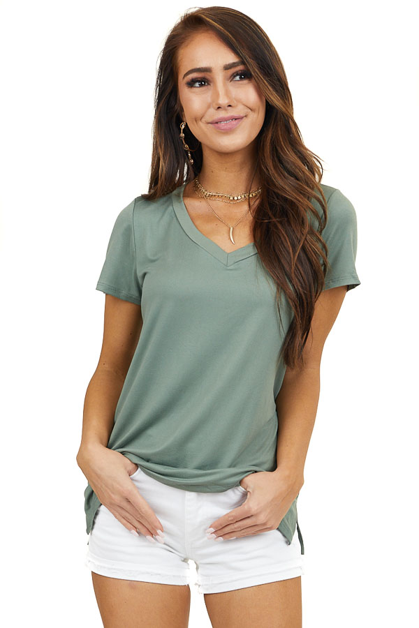 Olive Soft Knit V Neck Top with Short Sleeves