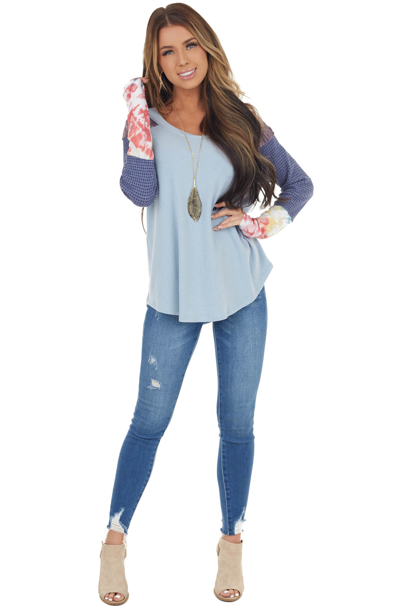 Dusty Blue Knit Top with Long Multiprint Sleeves