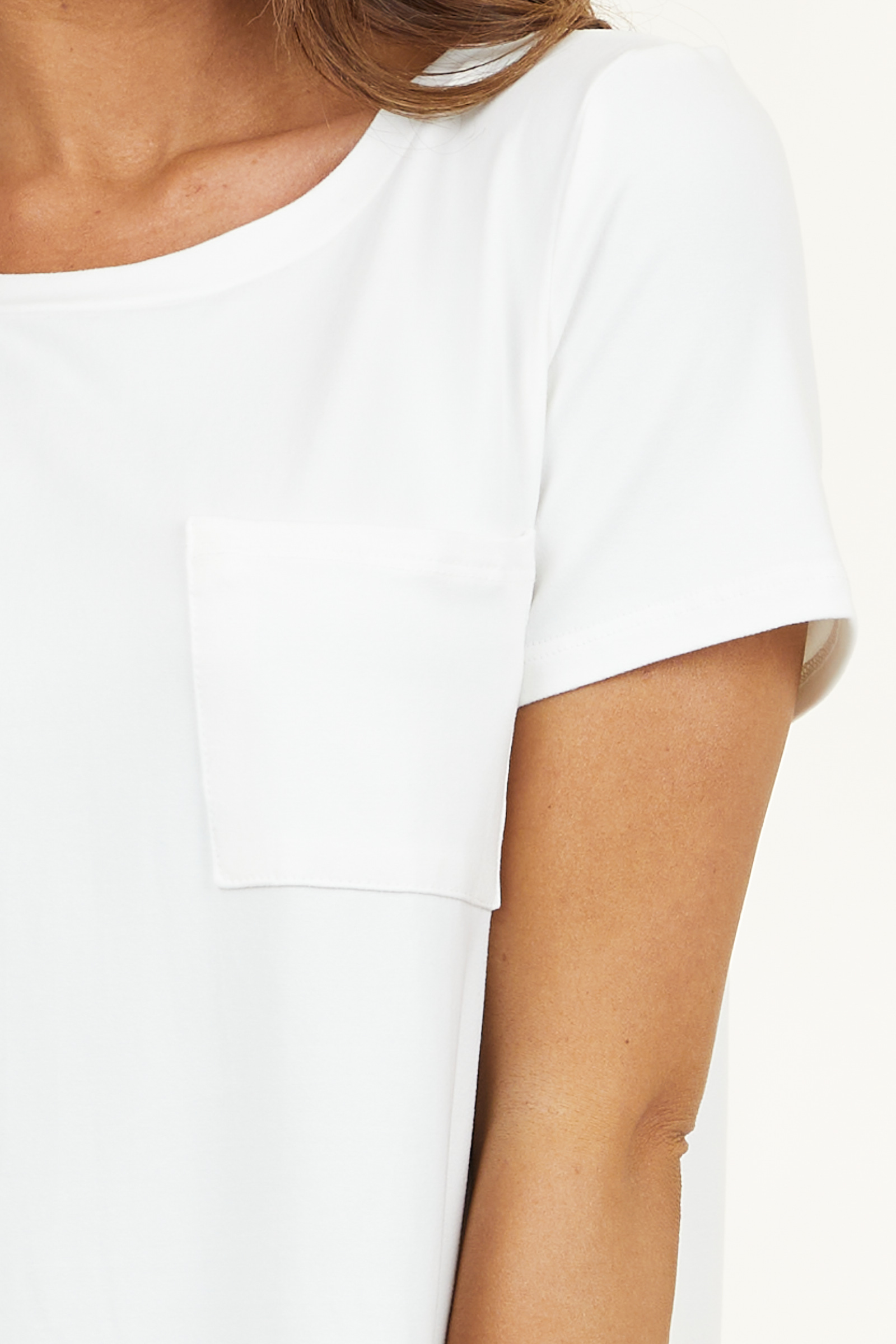 Off White Short Sleeve Tee Shirt Dress with Front Pocket