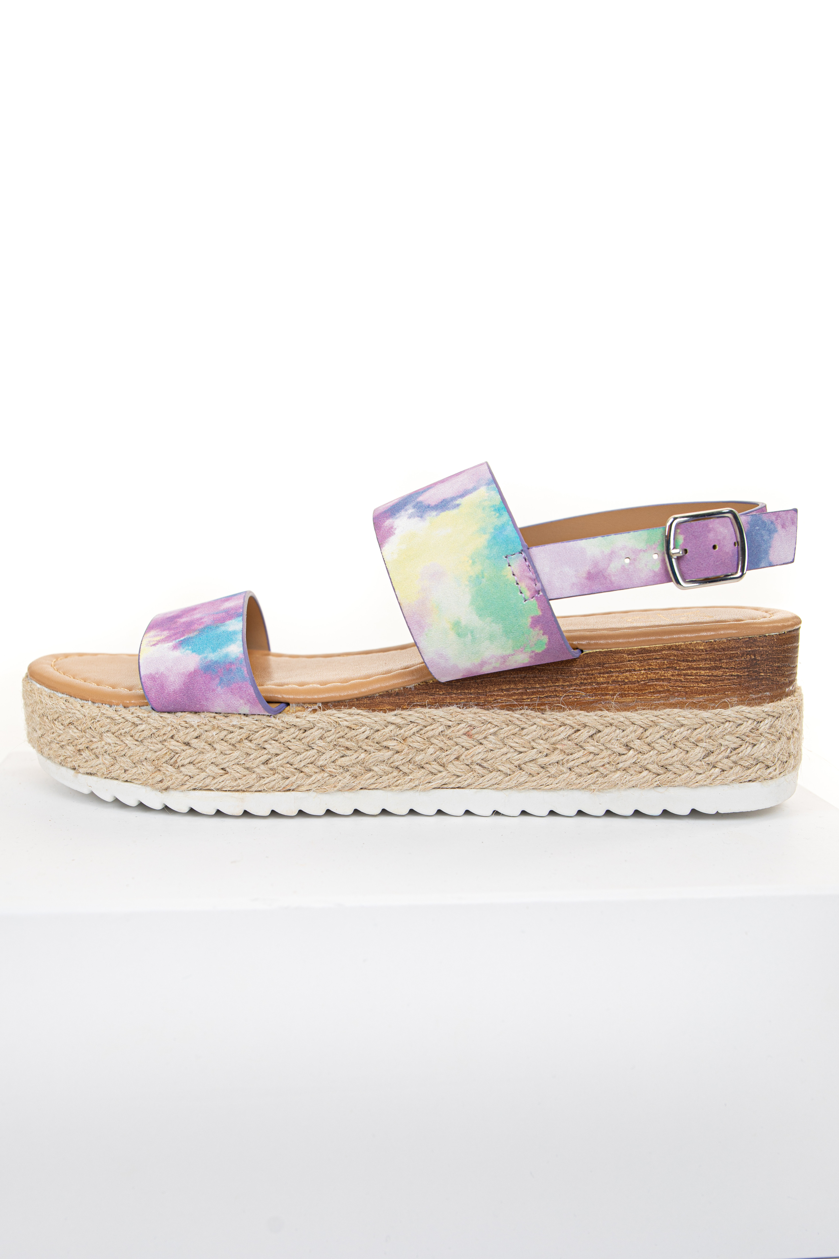 Tie Dye Faux Leather Espadrille Sandals with Buckle Closure