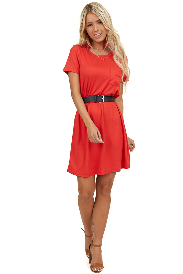 Lipstick Red Short Sleeve Tee Shirt Dress with Front Pocket