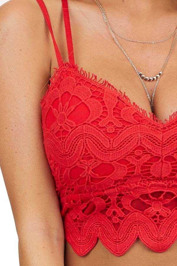Red Crochet Lace Smocked Bralette with Front Scalloped Hem