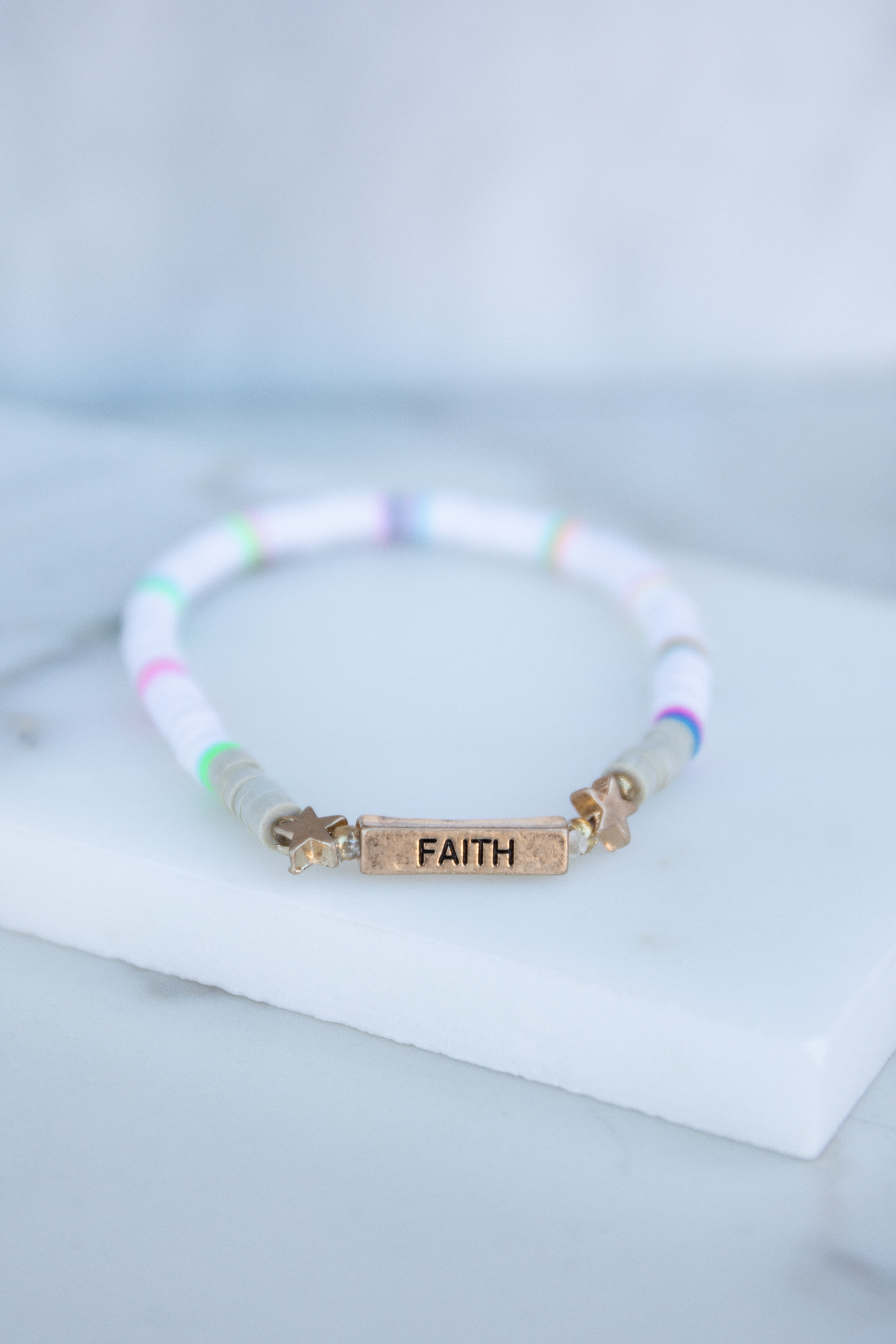 White and Multicolor Beaded Bracelet with 'Faith' Pendant