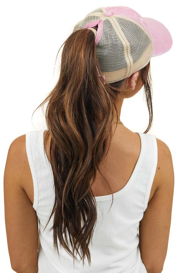 Dusty Blush Distressed Trucker Cap with Mesh Detail