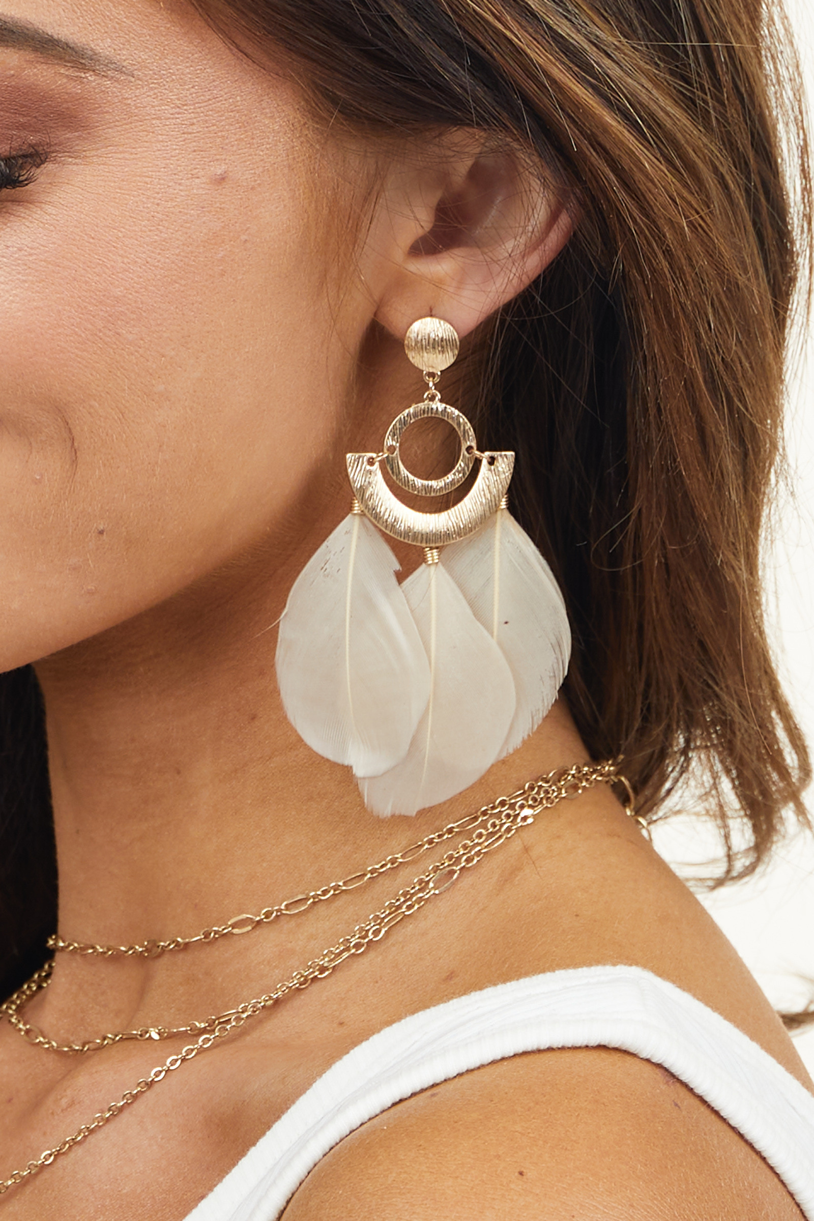 Gold Geometric Dangle Earrings with Oatmeal Feather Details