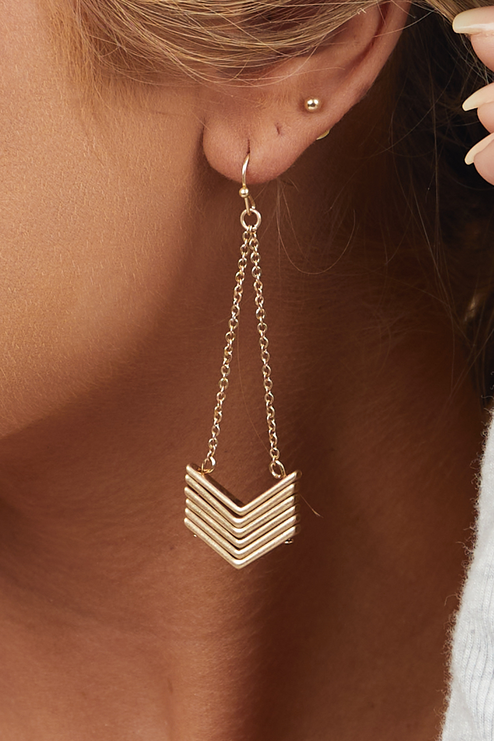 Brushed Gold Stacked Chevron Dangle Earrings