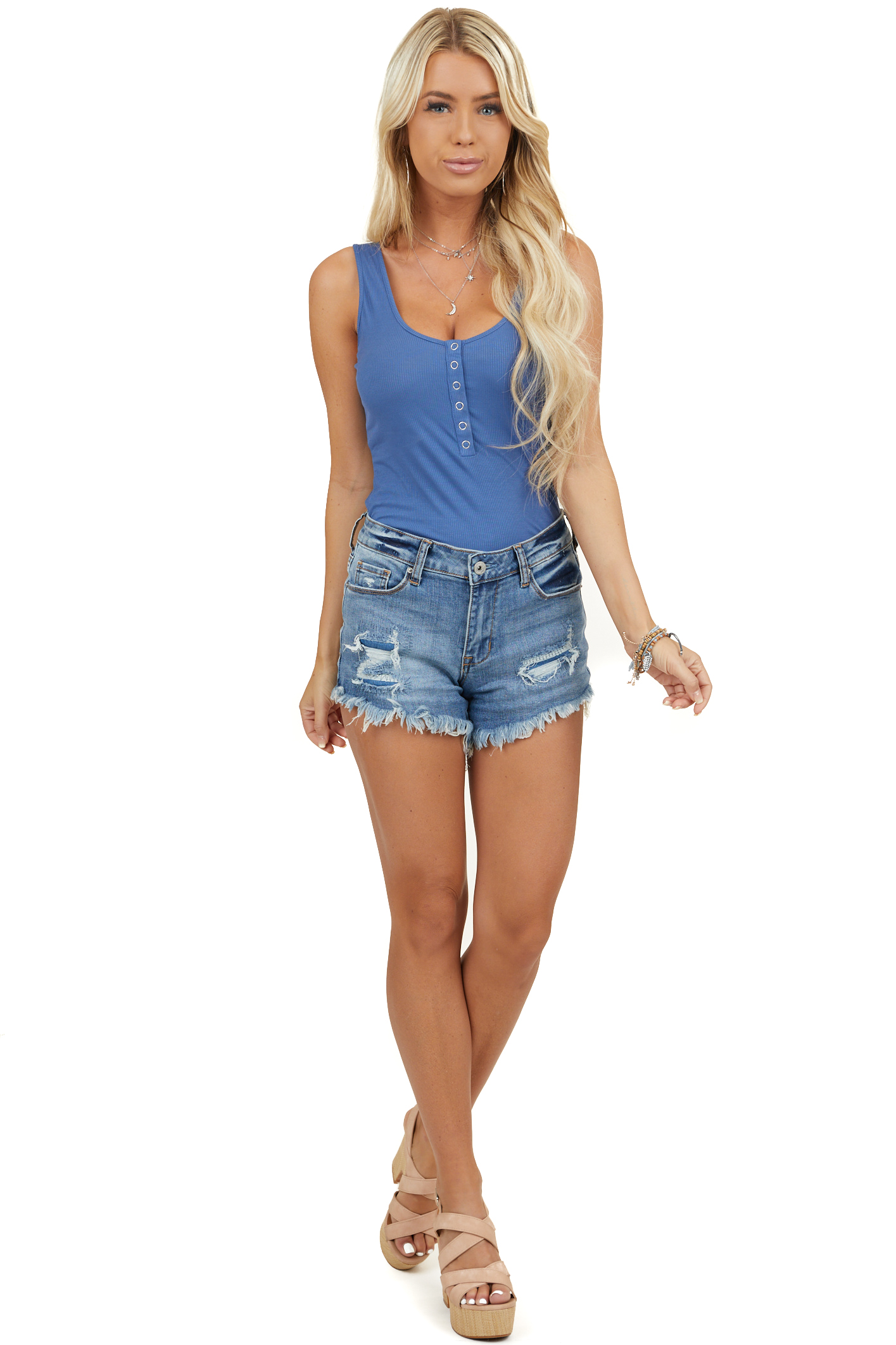Cornflower Blue Ribbed Bodysuit with Button Details