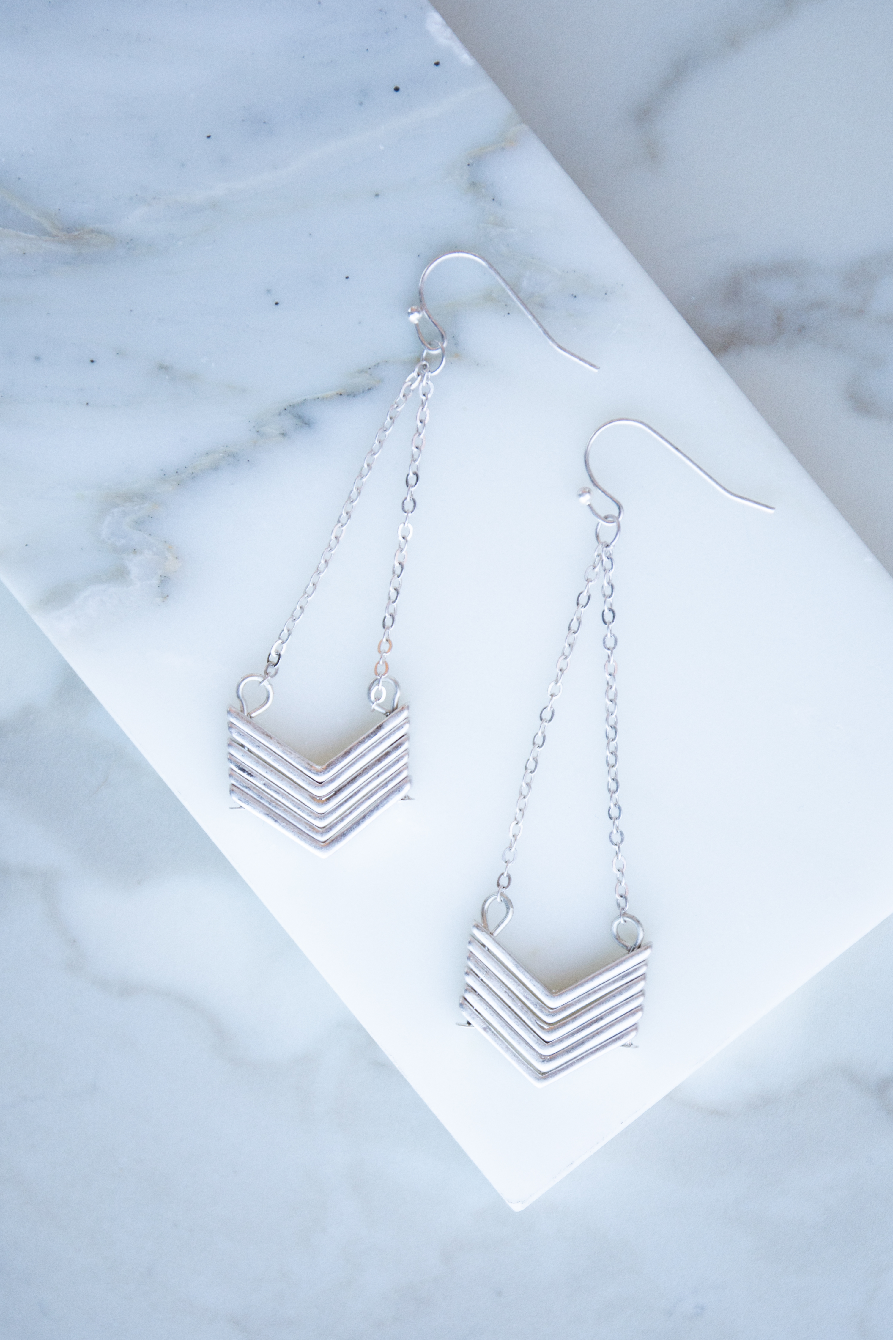 Brushed Silver Stacked Chevron Dangle Earrings
