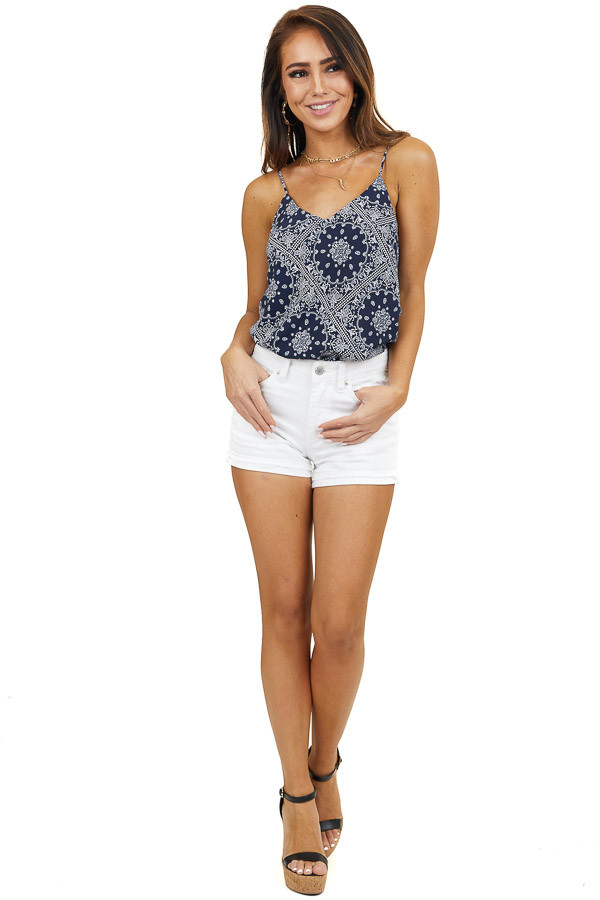 Navy Paisley Print V Neck Tank Top with Adjustable Straps