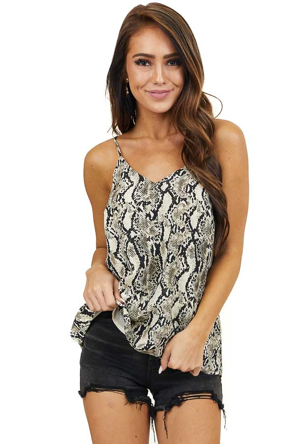 Cream Snakeskin Print V Neck Tank Top with Adjustable Strap