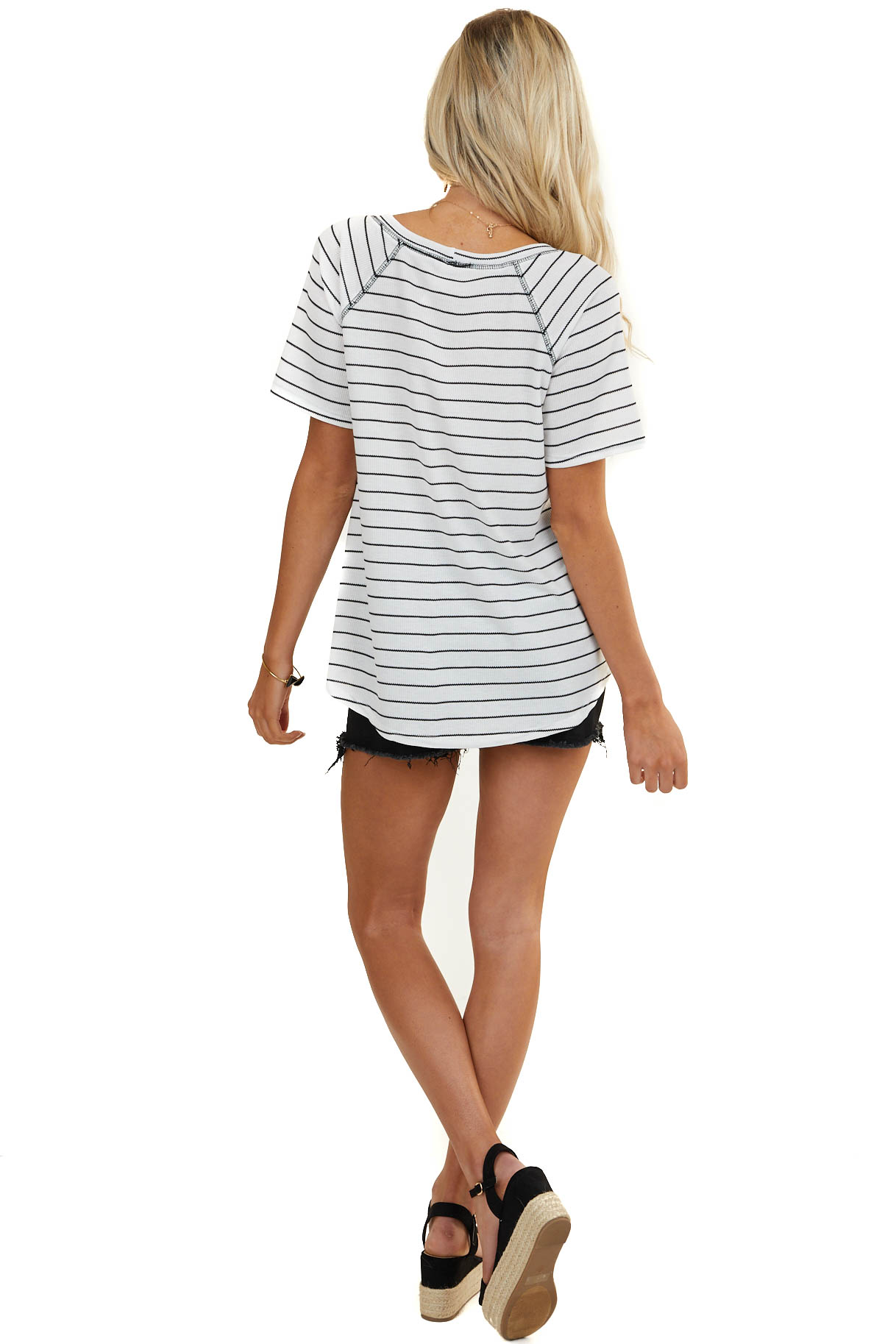 White and Black Striped Print Knit Top with Side Pockets