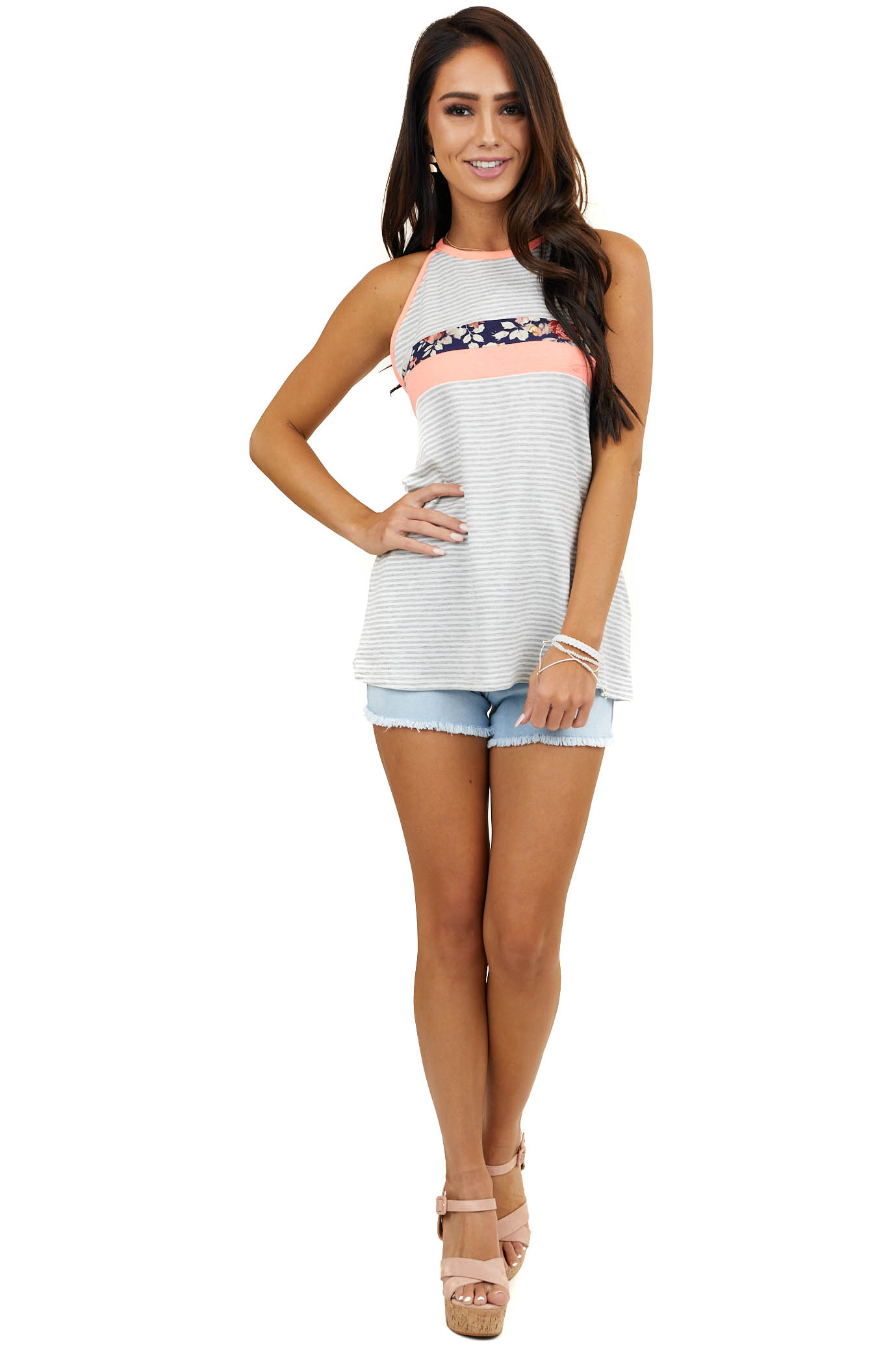 Heather Grey and White Striped Floral Color Block Tank Top