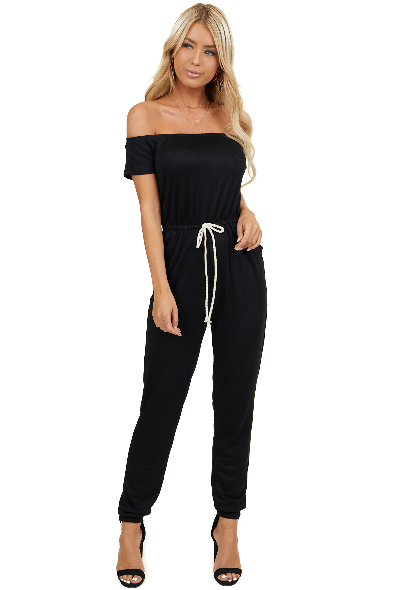 Black Off Shoulder Jumpsuit with Waist Tie and Pockets