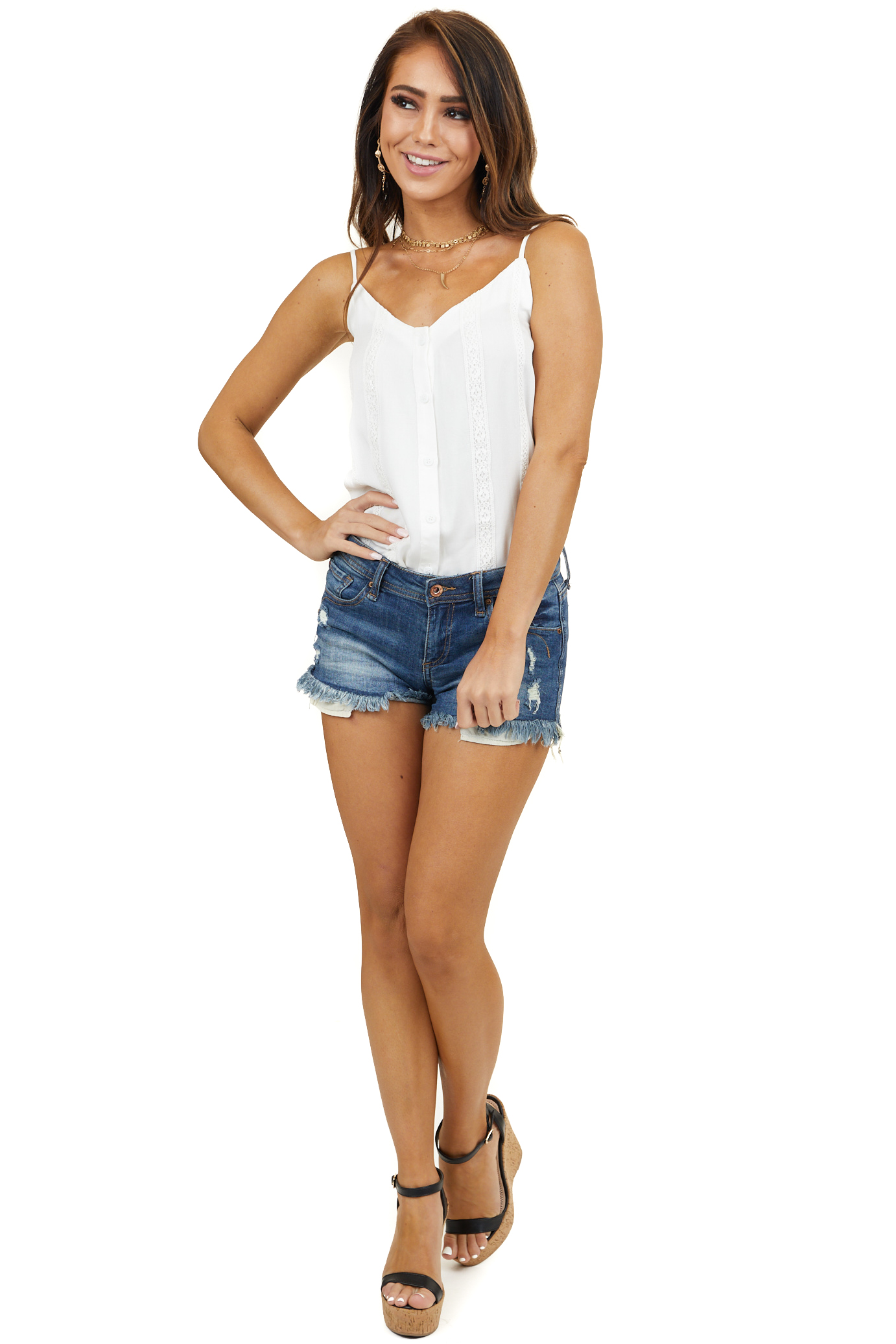 Off White Lace Tank Top with V Neckline and Button Up Front