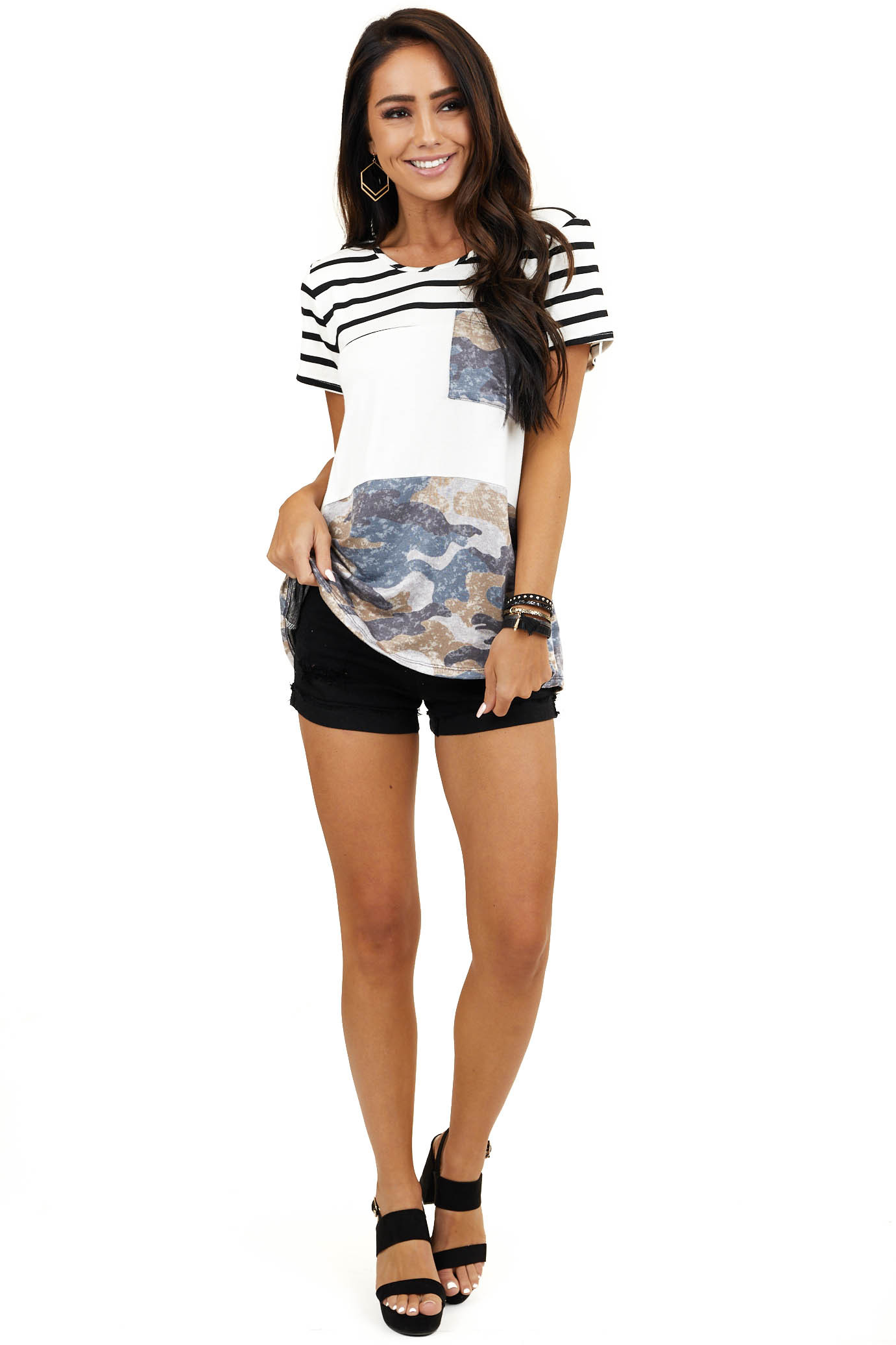 Off White Camo Colorblock Short Sleeve Top with Front Pocket