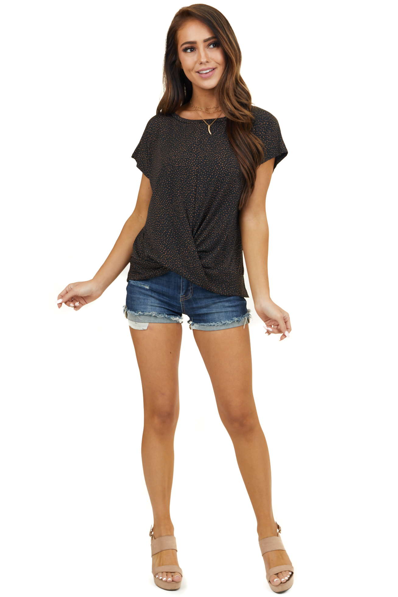 Black Polka Dot Short Sleeve Top with Front Twist Detail