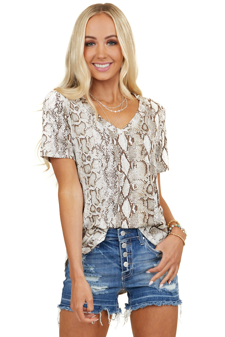 Ivory and Brown Snakeskin Print Short Sleeve Knit Top
