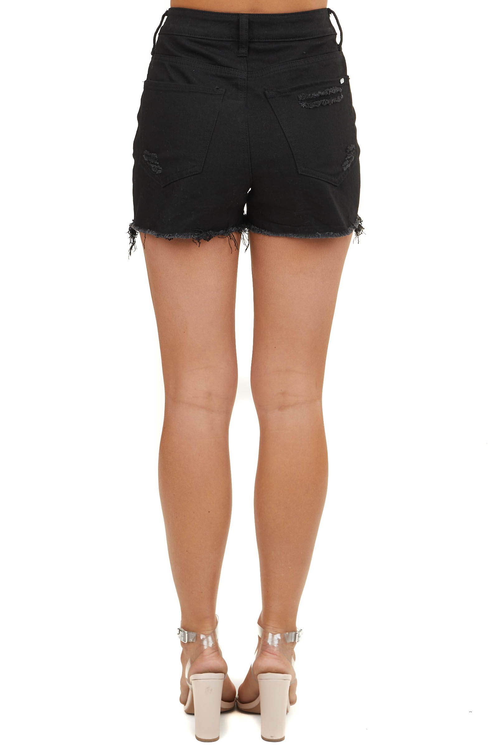 Black High Rise Shorts with Distressing Detail and Raw Hems