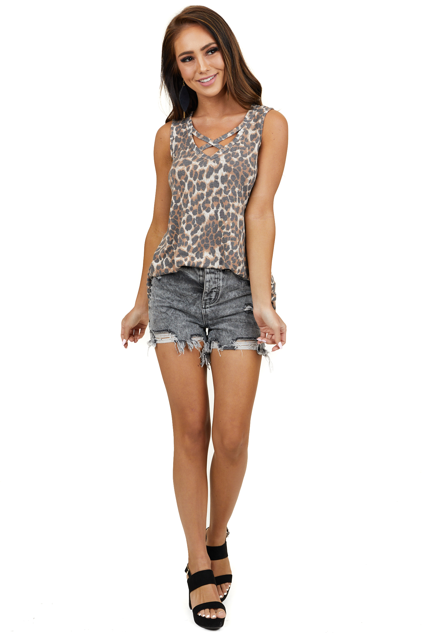 Sienna Brown Leopard Tank Top with Front Criss Cross Detail
