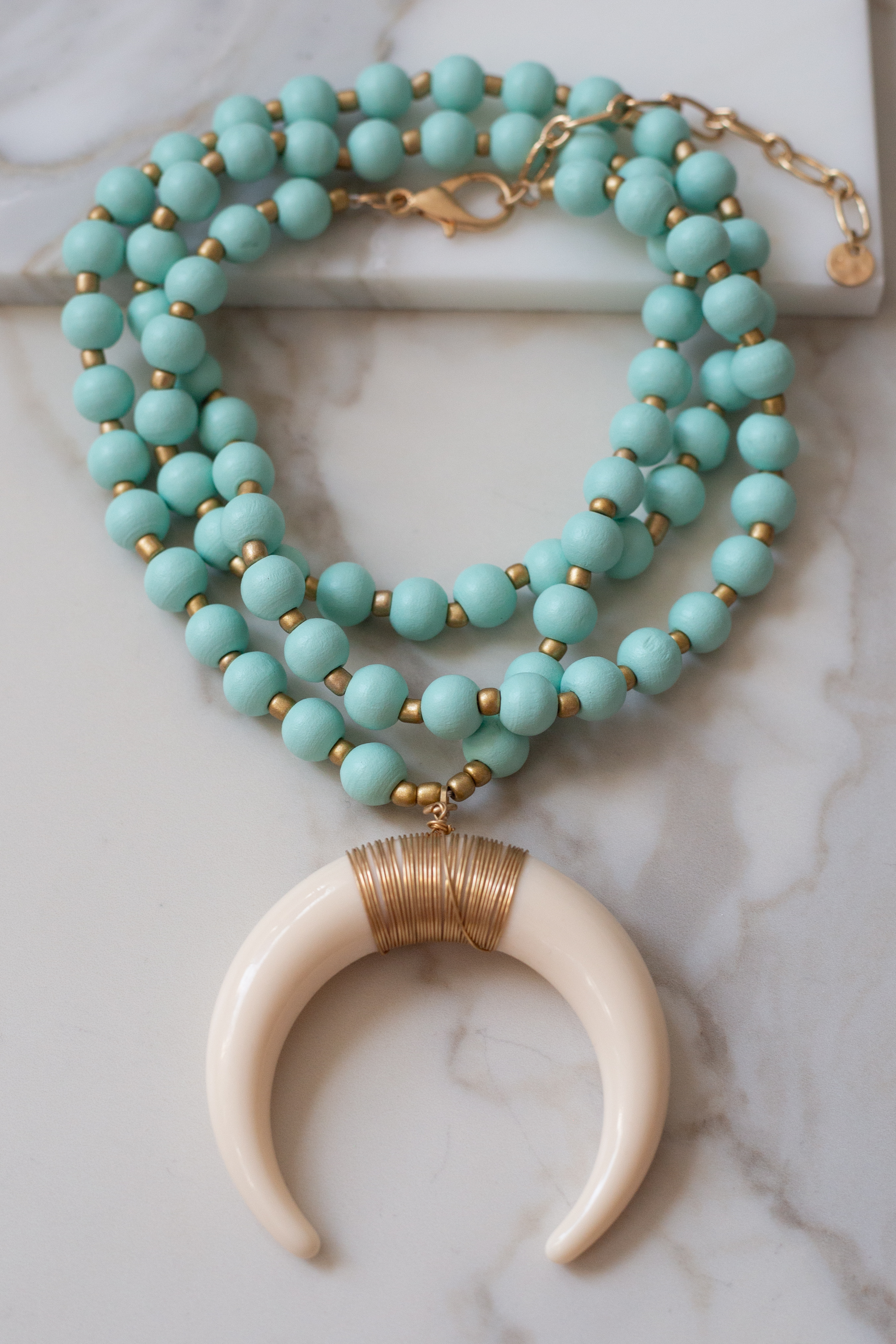Mint Chunky Beaded Long Necklace with Crescent Horn Pendant
