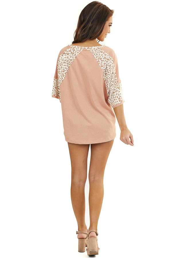 Light Terracotta Short Sleeve Top with Leopard Contrast