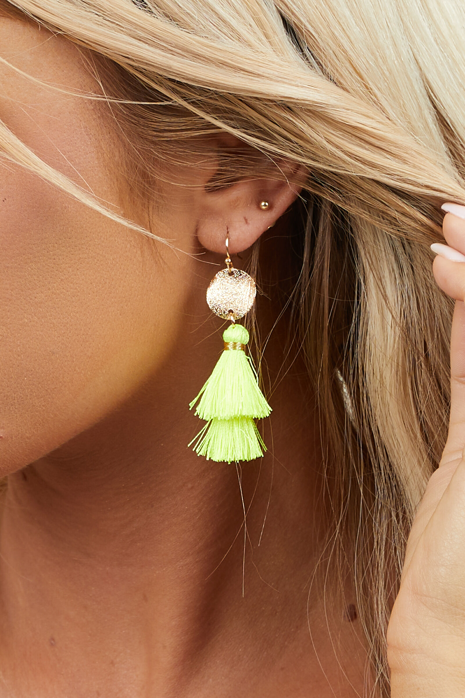 Neon Yellow Tassel Hook Earrings with Gold Disc Pendants
