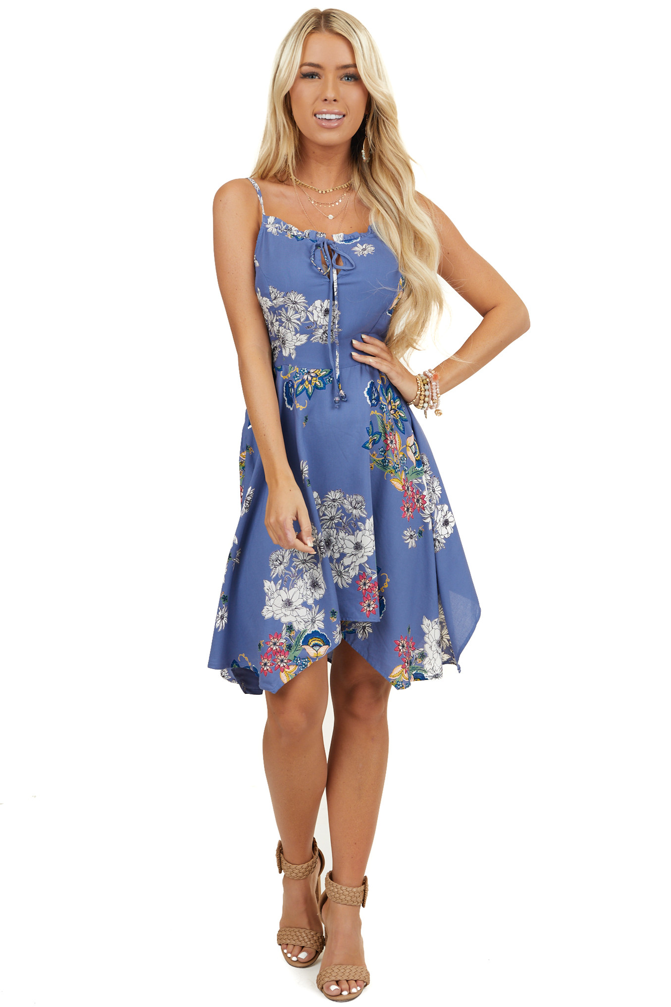 Cornflower Floral Sleeveless Dress with Handkerchief Hemline