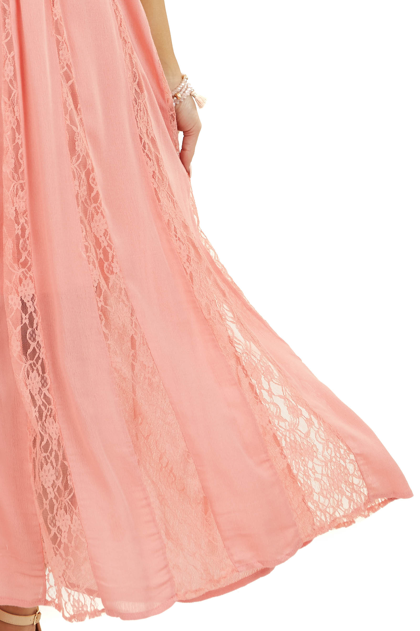 Coral Pleated Sleeveless Midi Dress with Lace Detail