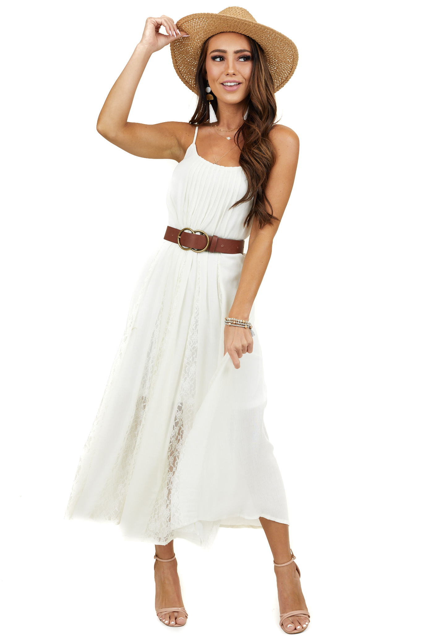 Cream Pleated Sleeveless Midi Dress with Lace Detail