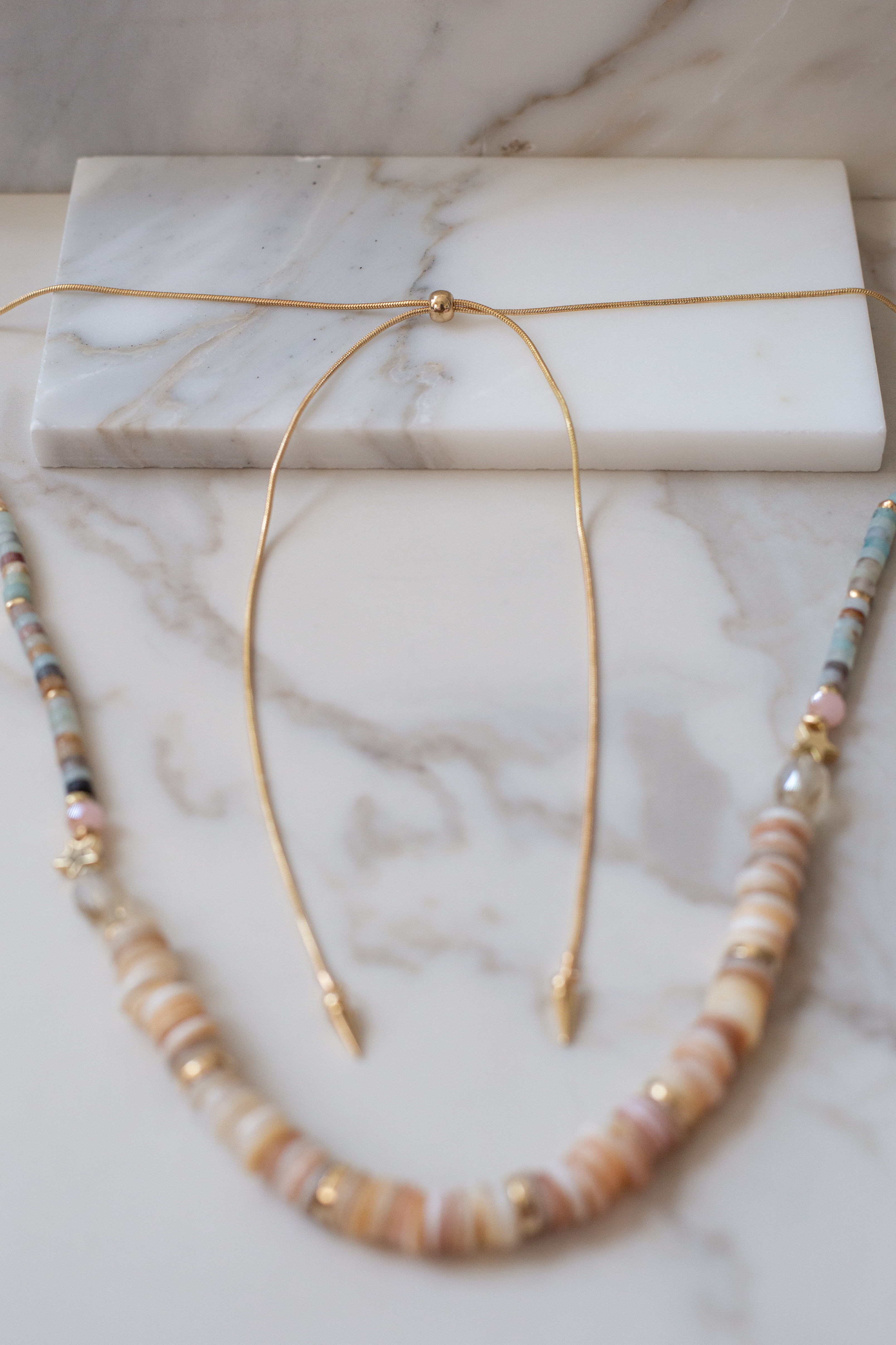 Gold Star Long Necklace with Shell and Amazonite Bead Detail