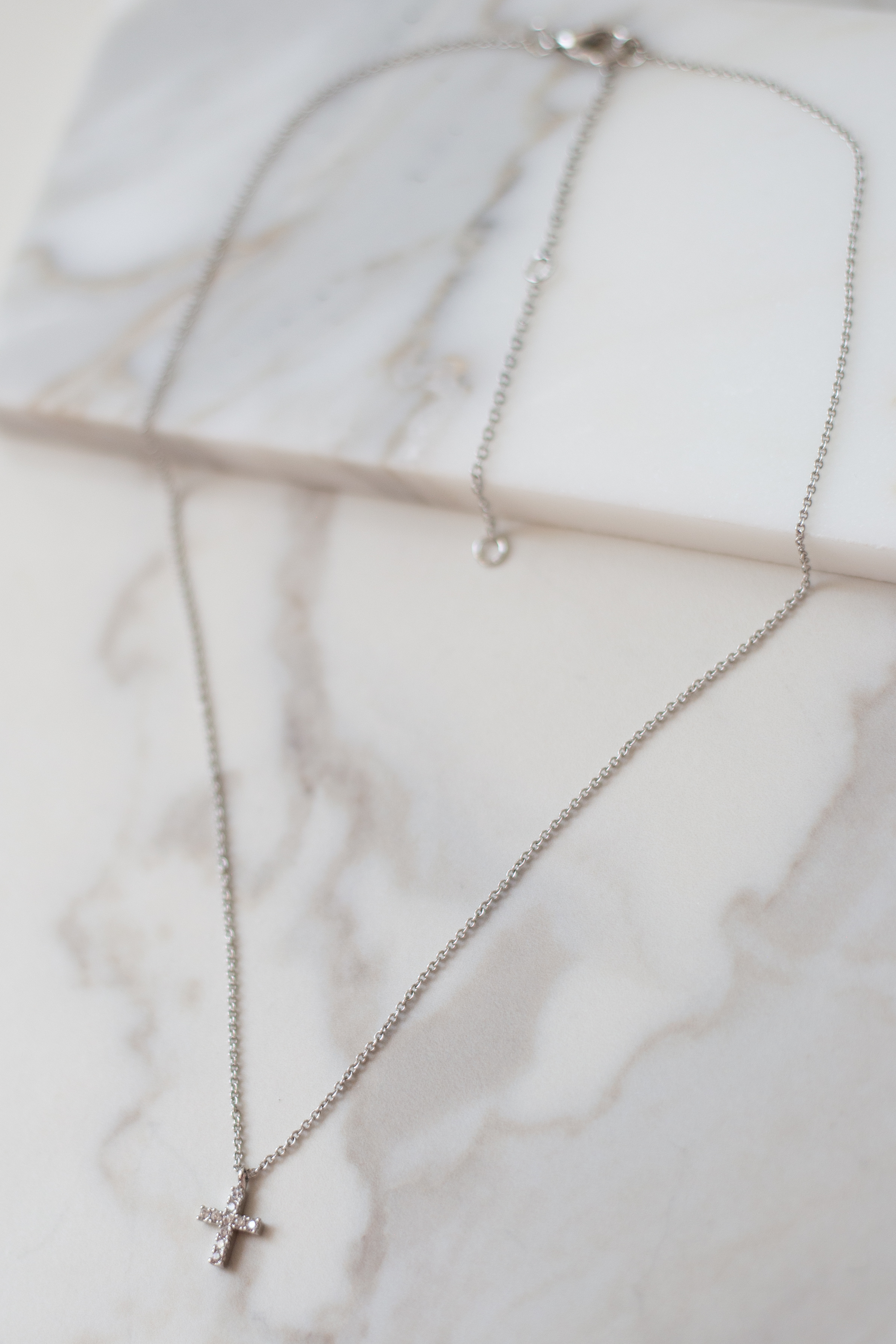 Silver Dainty Necklace with Cross Rhinestone Pendant
