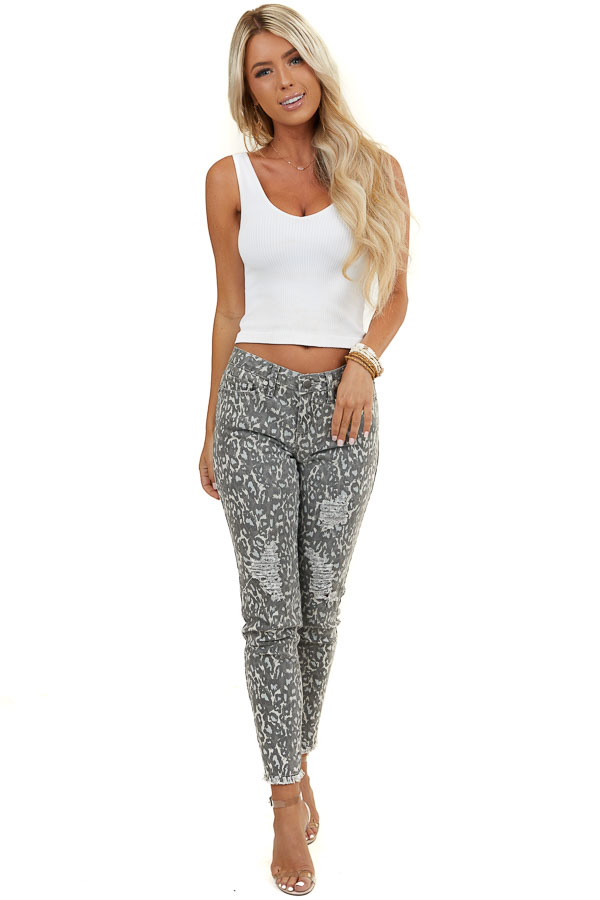 Stone Grey Leopard Print Pants with Distressed Details
