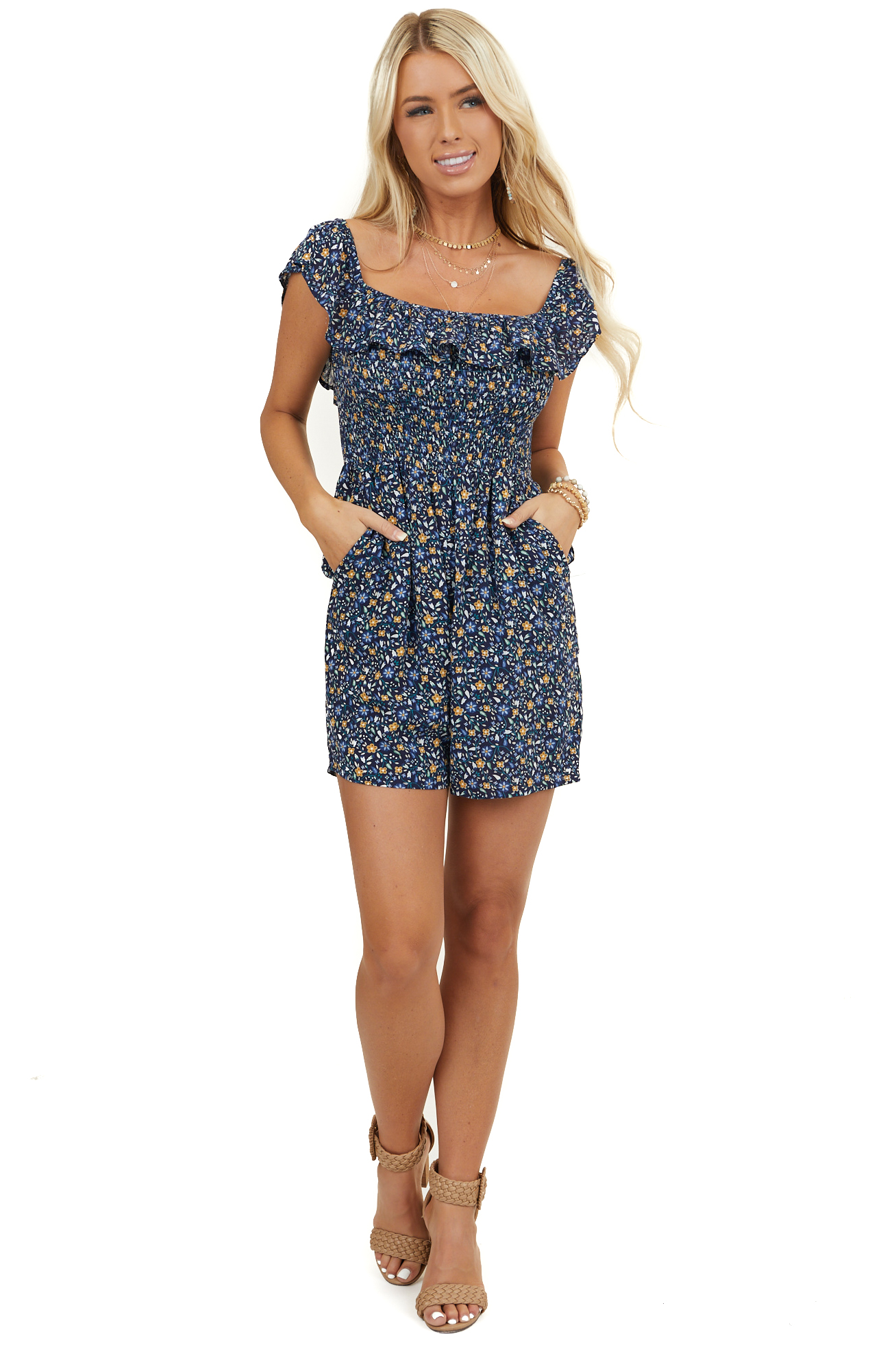 Navy Floral Short Sleeve Romper with Pockets and Overlay
