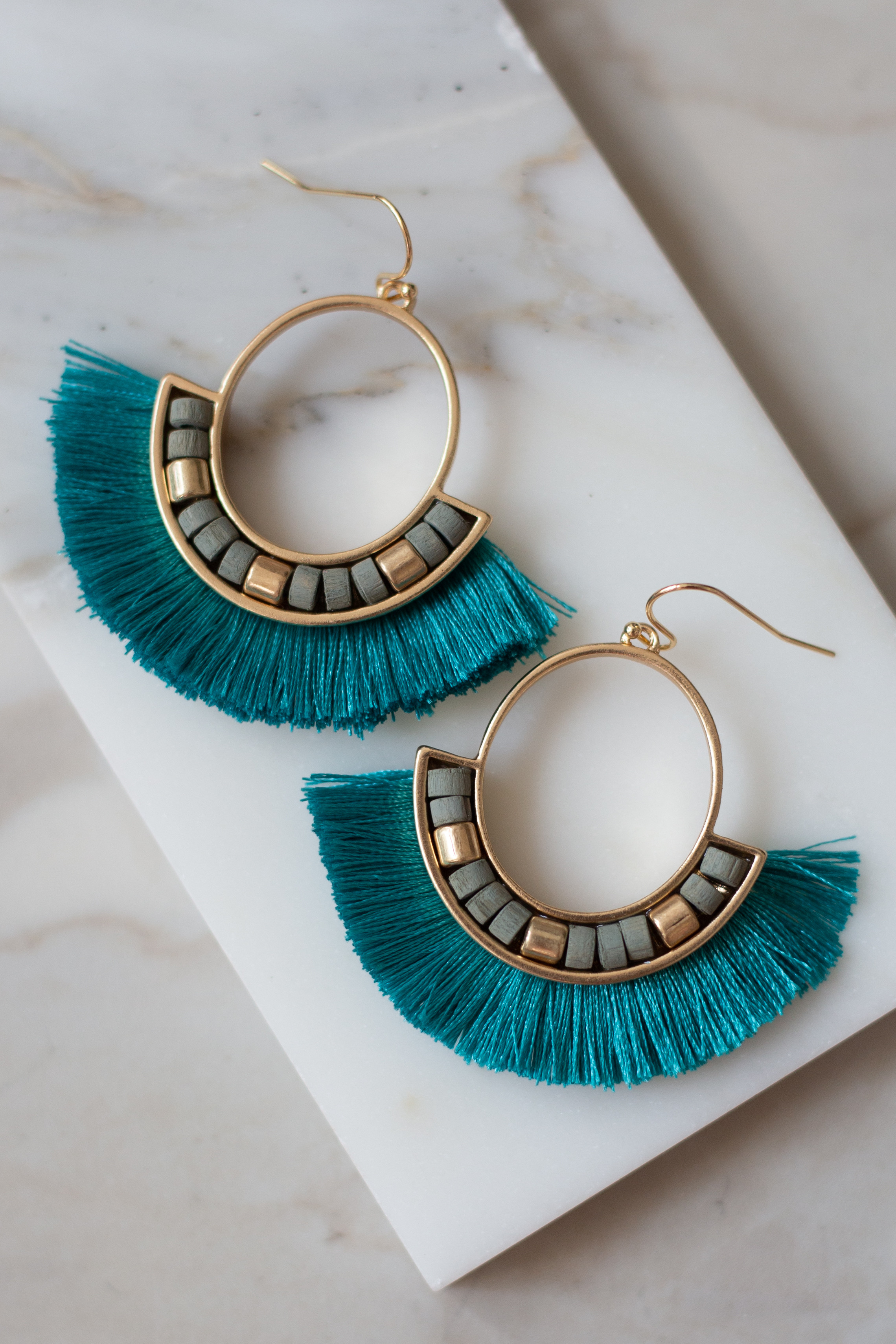 Teal and Gold Tassel Fan Dangle Earrings with Bead Details