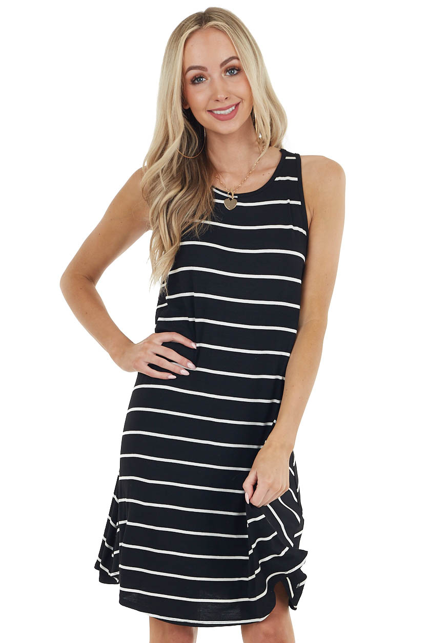 Black and Off White Striped Sleeveless Short Swing Dress