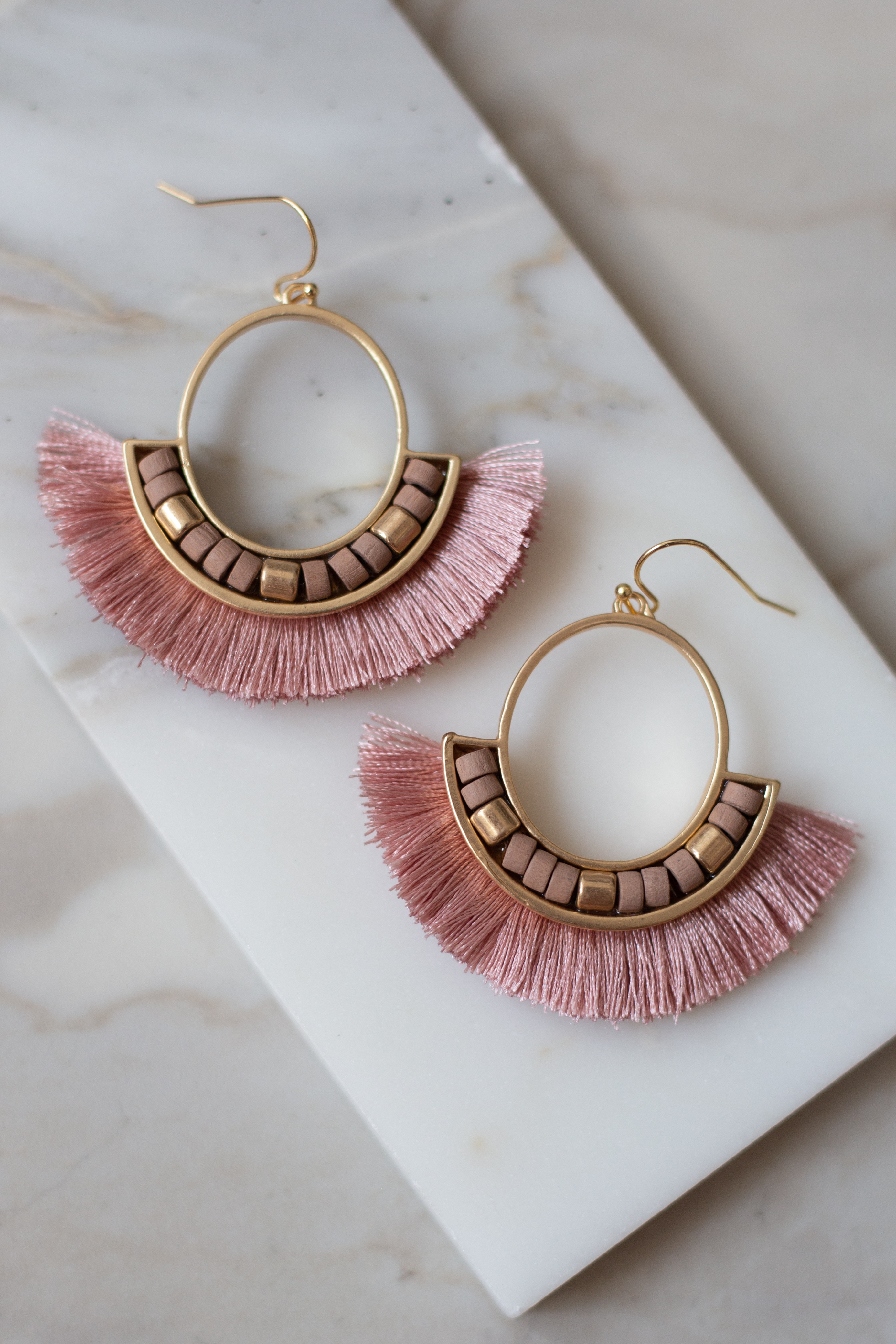 Blush and Gold Tassel Fan Dangle Earrings with Bead Details