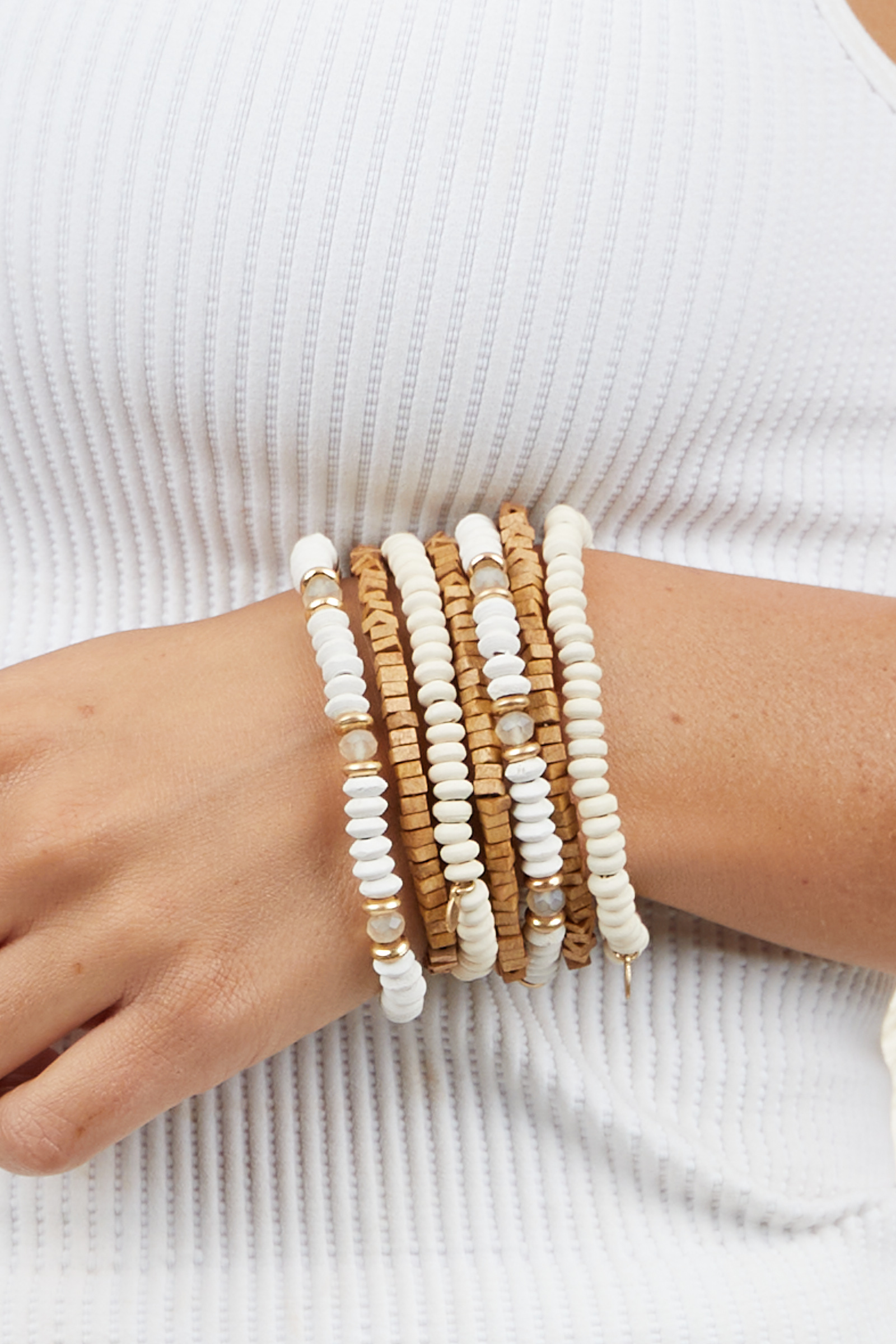 Cream and Wood Bead Layered Bracelets Set with Gold Accents