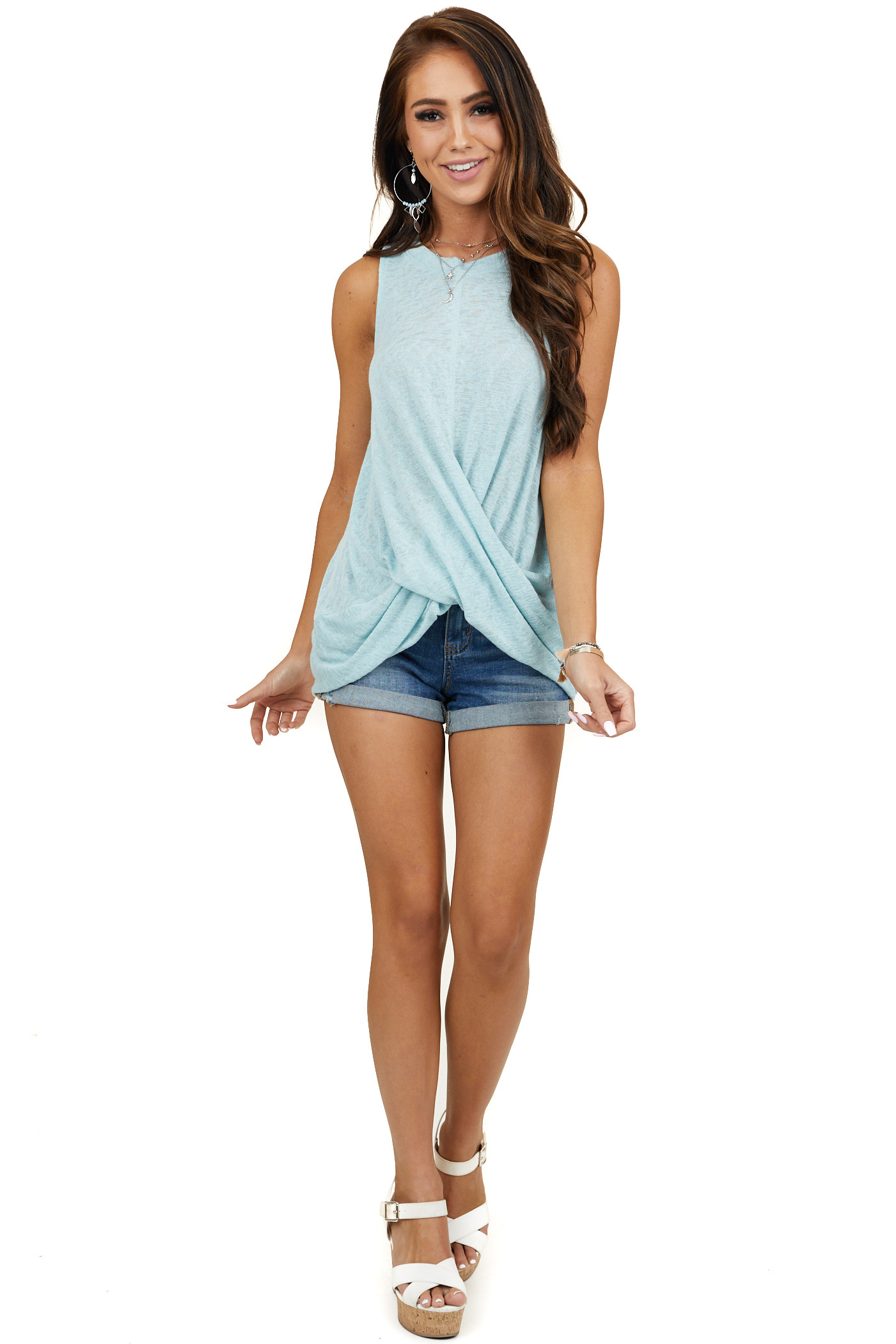 Seafoam Tank Top with Keyhole Back and Twist Detail
