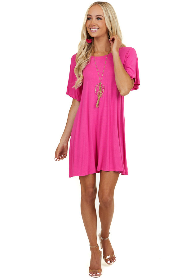 Hot Pink Open Back Swing Mini Dress with Criss Cross Detail