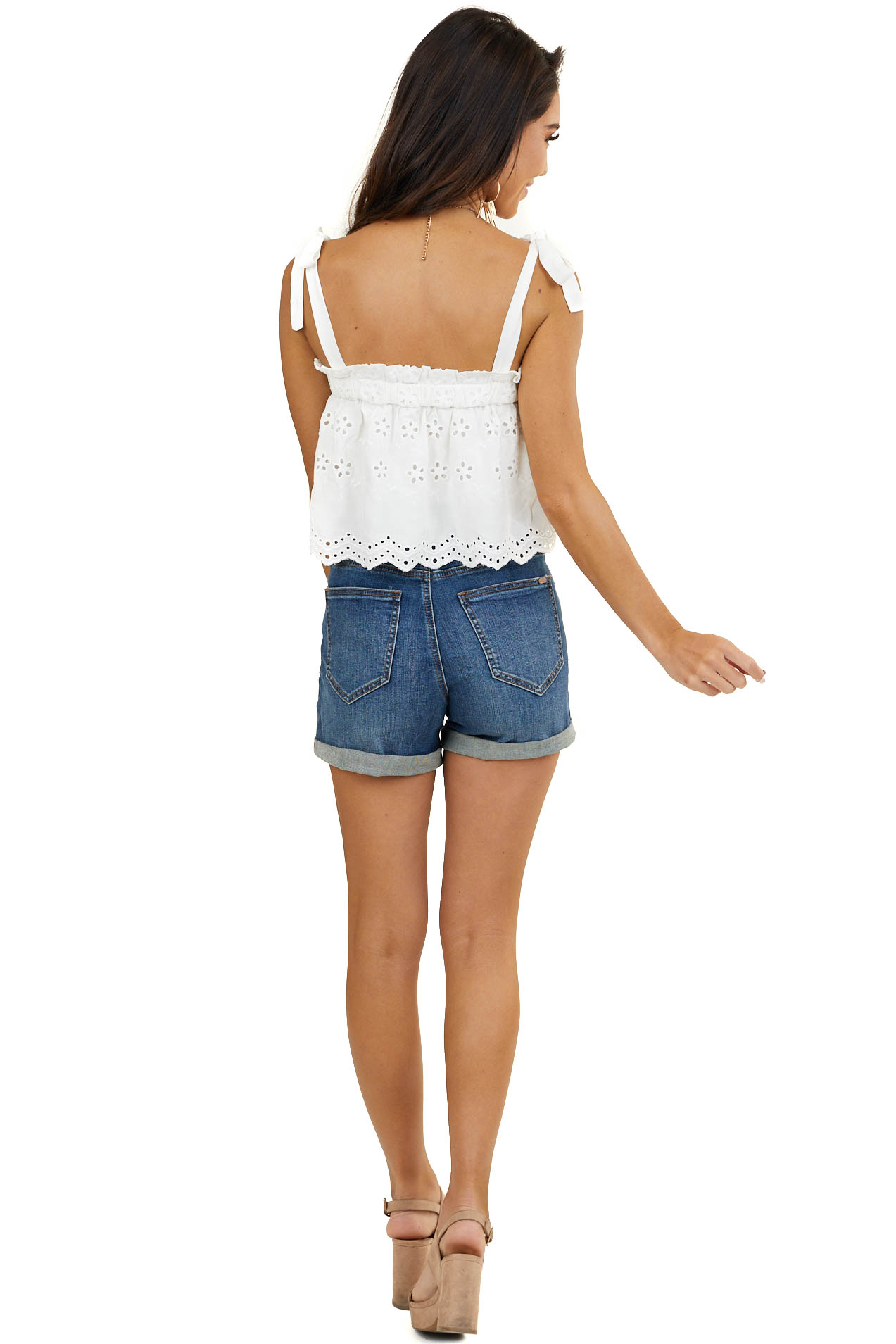 Off White Floral Eyelet Lace Sleeveless Top with Strap Ties
