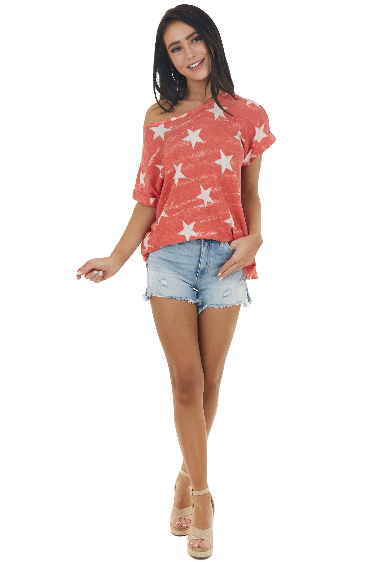 Lipstick Red Waffle Knit Top with White Star Print