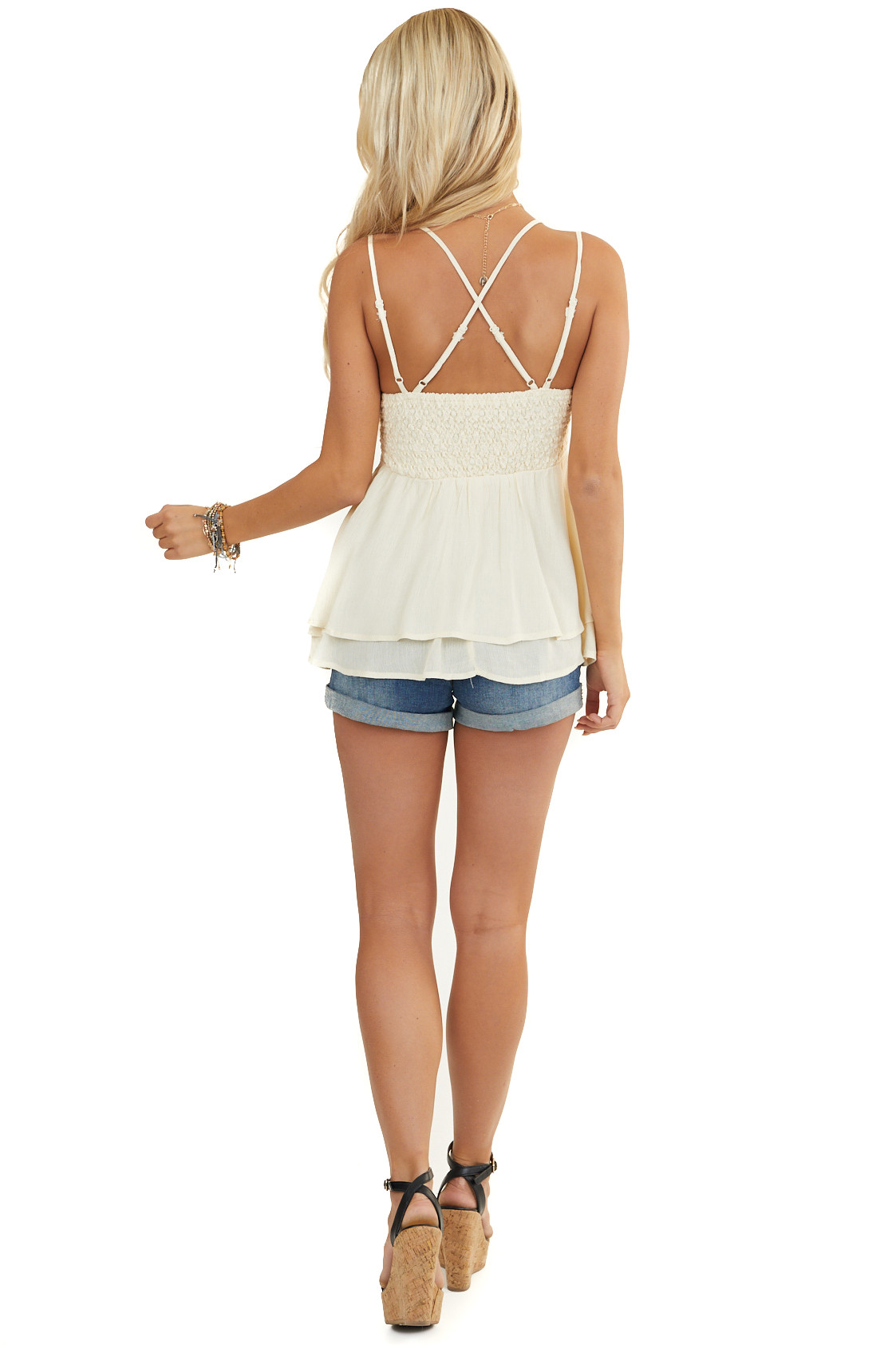 Cream Camisole Woven Top with Smocked Back and Lace Details
