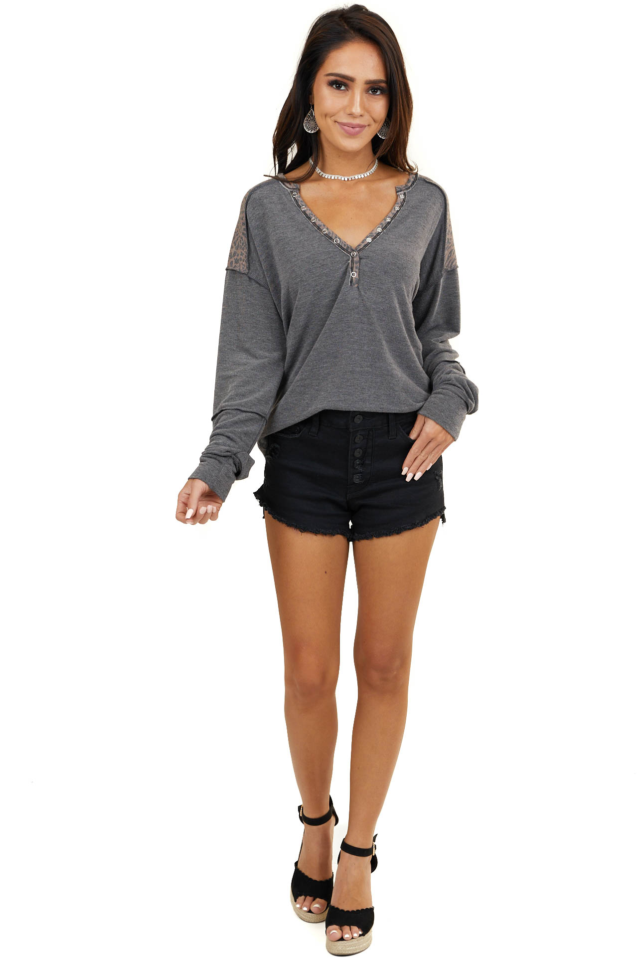 Charcoal Long Sleeve Henley Top with Leopard Print Details