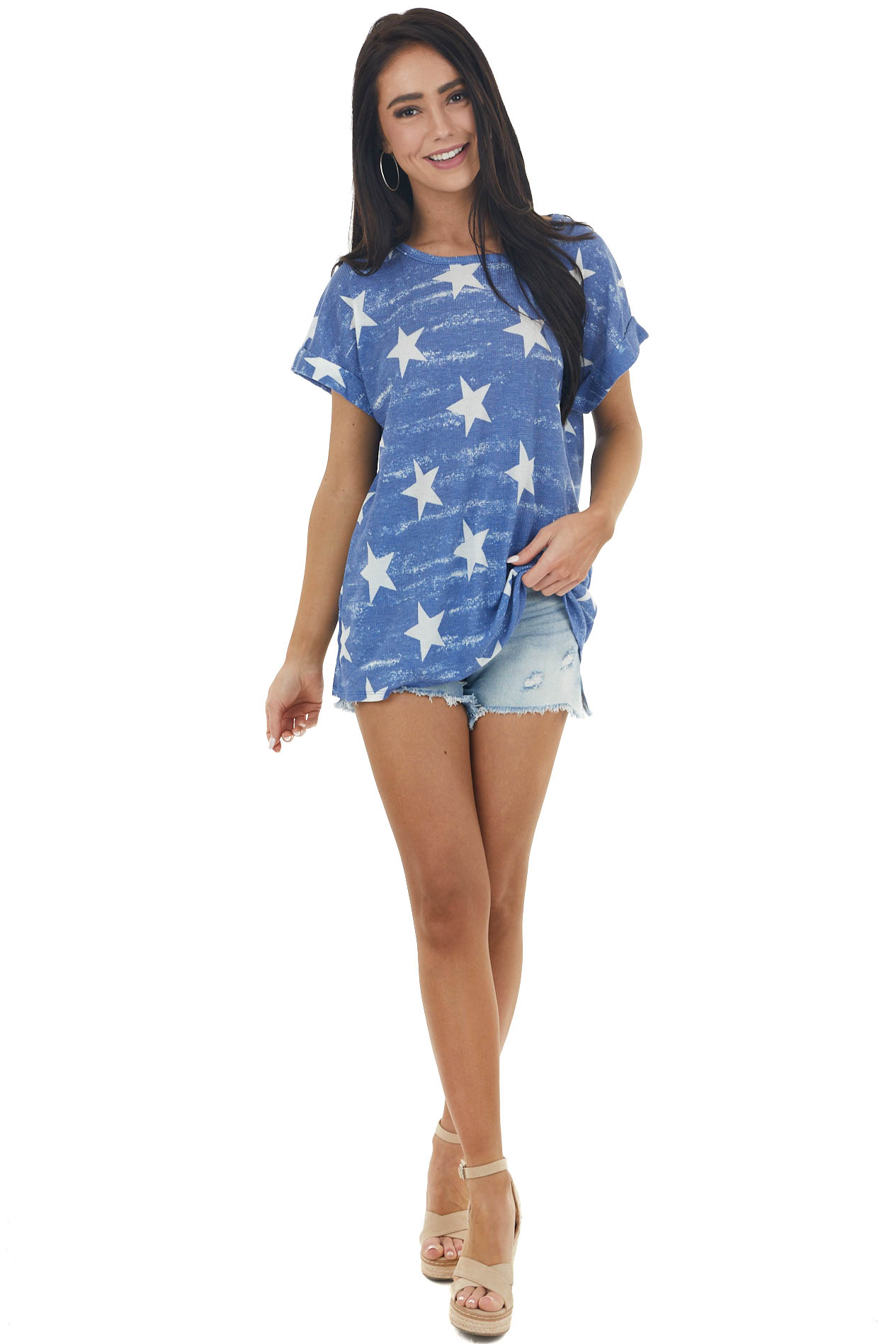 Navy Waffle Knit Top with White Star Print
