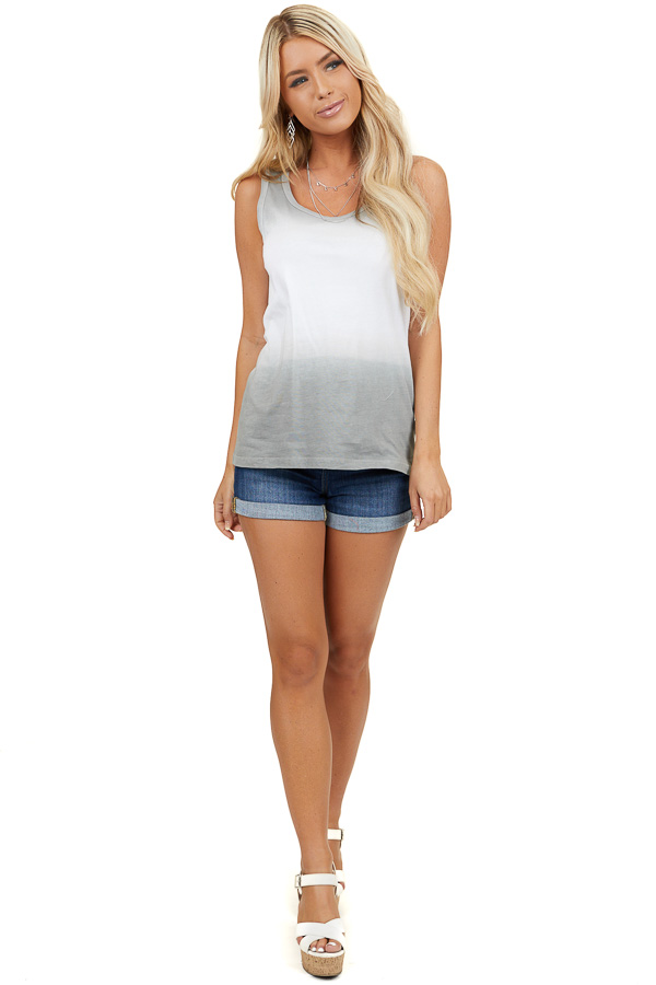 Ash and Off White Ombre Striped Knit Tank Top