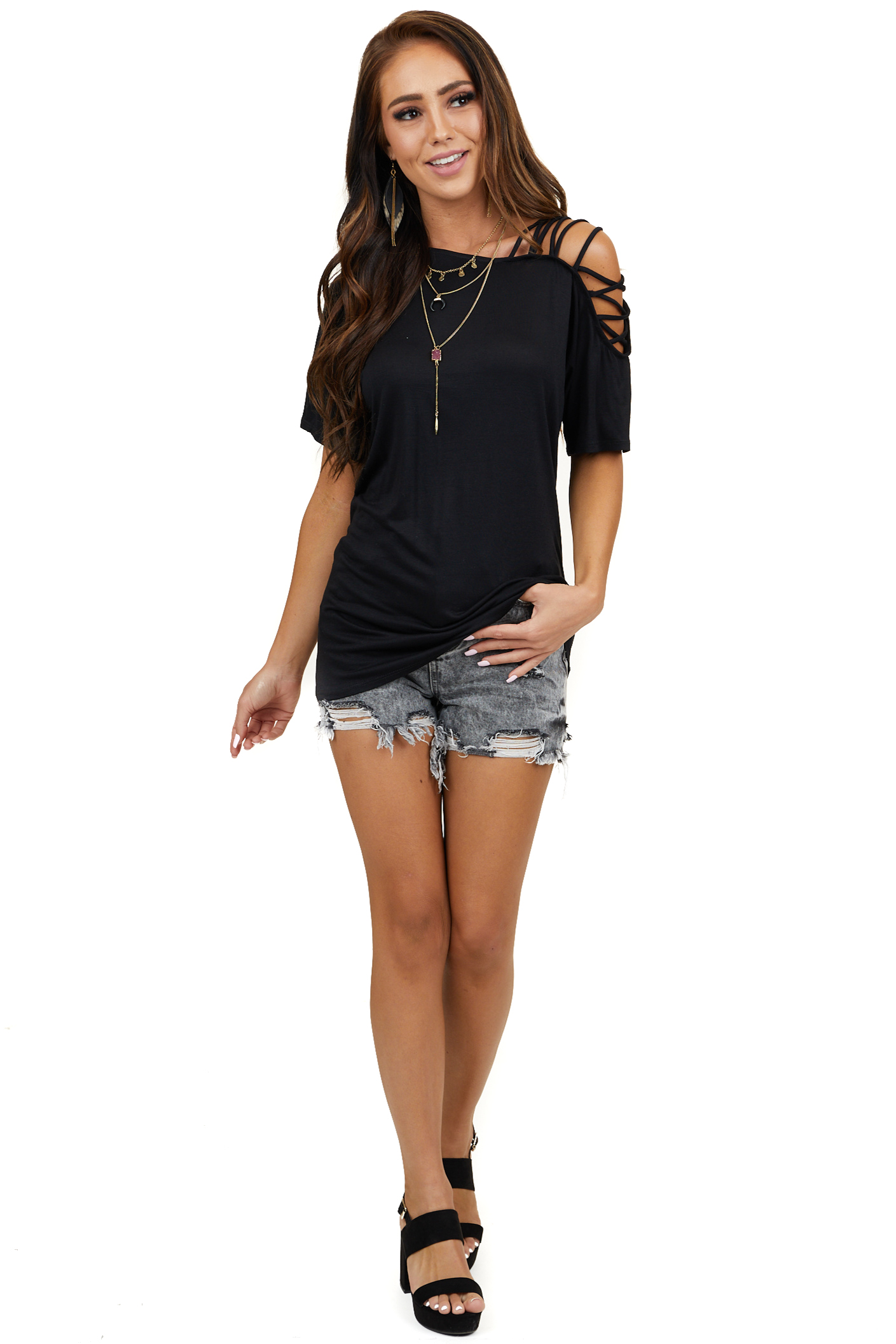 Black Top with One Cold Shoulder with Criss Cross Straps