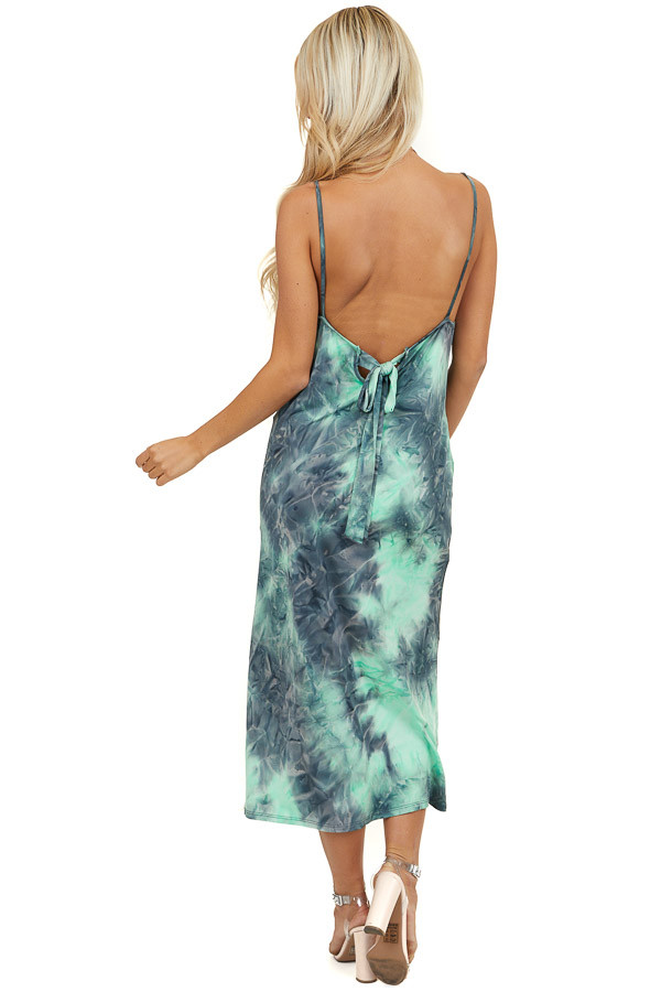 Bright Green and Charcoal Tie Dye Dress with Pockets