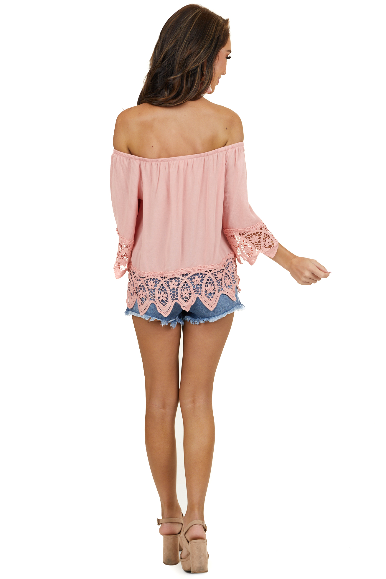 Blush Off the Shoulder Woven Top with Crochet Lace Details