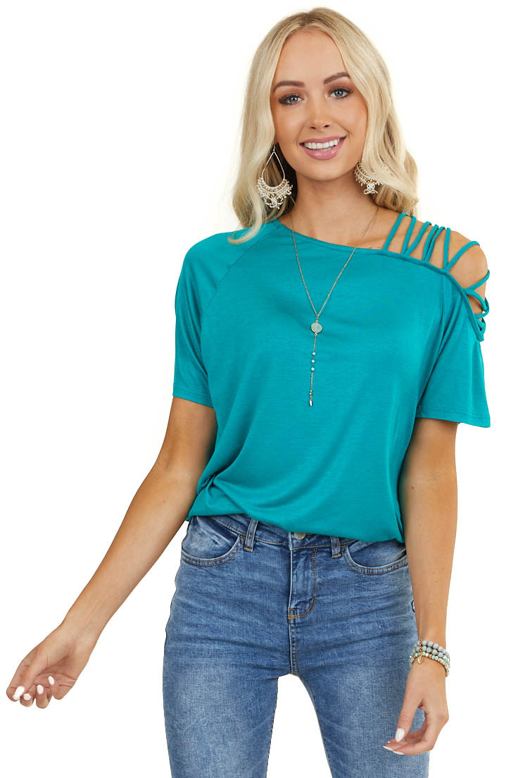 Pine Top with One Cold Shoulder with Criss Cross Straps