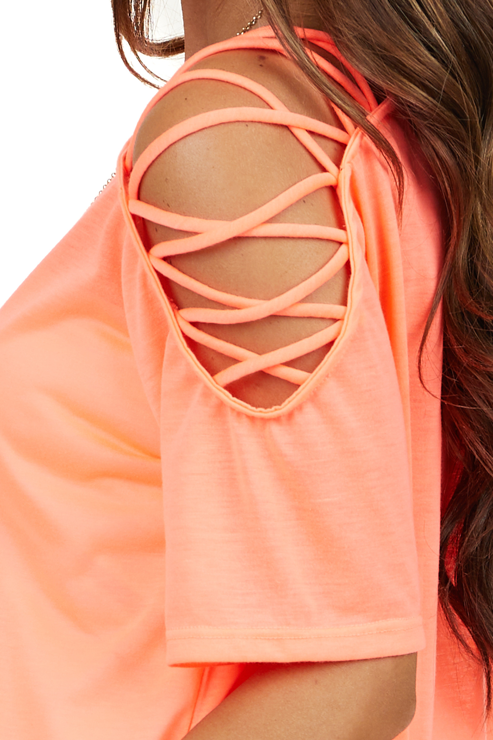 Bright Coral One Cold Shoulder Top with Criss Cross Straps